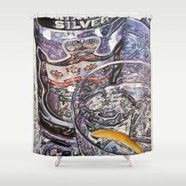 Vintage Smirnoff Silver Liquor Lithograph Wall Art Advertisement Shower Curtain