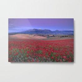 Big Fields Of Poppies. At Purple Sunset. Sierra Arana And Sierra Nevada Metal Print