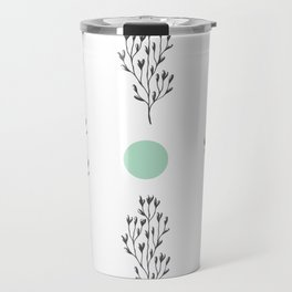 Black brunches & green dots pattern Travel Mug