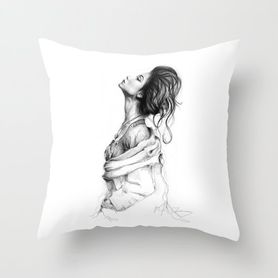Pretty Lady Illustration Throw Pillow
