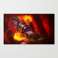 warcraft Canvas Prints featuring Make it burn by Geraud Soulie