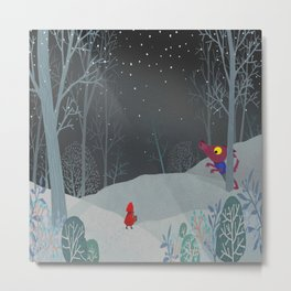 The red cloak and the warmer wolf Metal Print