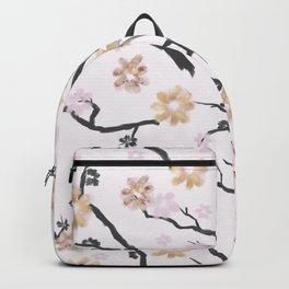 Blush pink black gold watercolor elegant floral Backpack