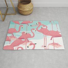 Kitschy Retro Flamingos Rug
