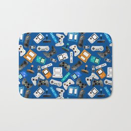 Watercolor Gaming Video Game Devices Pattern Blue Bath Mat
