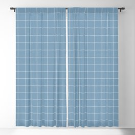 French Blue Linen Check Blackout Curtain