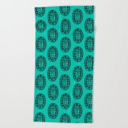 Ancient Egyptian Amulet Pattern Turquoise Blue Beach Towel