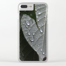 Wet Leaves Clear iPhone Case
