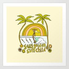 stay golden sun child //retro surf art by surfy birdy Art Print