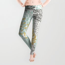 Floral Abstract Print, Yellow, Gray, Aqua Leggings
