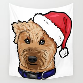 Irish Soft Coated Wheaten Terrier Dog Christmas Hat Wall Tapestry