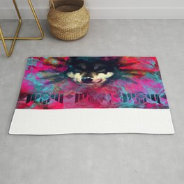 Wolf and the colors, colors, pink, blue, flower, feathers,  Rug