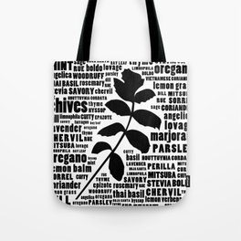 Herb Typography Kitchen Art - Black and White Wall Art Print Tote Bag