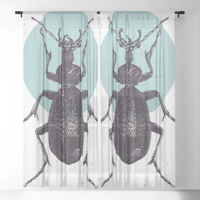 Black Beetle bug with blue moon Sheer Curtain