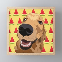 Golden Retriever Dog-Watermelon Framed Mini Art Print