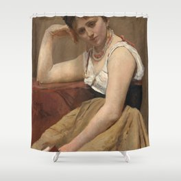 """Jean-Baptiste-Camille Corot """"Interrupted Reading"""" Shower Curtain"""