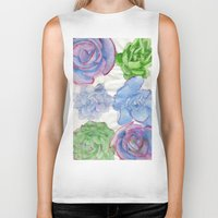 succulents Biker Tanks featuring Succulents by Kate Havekost Fine Art