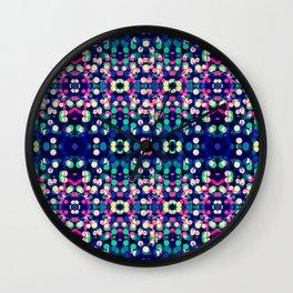 Vibrant Blue Bokeh Kaleidescope Pattern Wall Clock