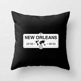 New Orleans Louisiana Map GPS Coordinates Artwork Throw Pillow