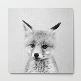 Baby Fox - Black & White Metal Print