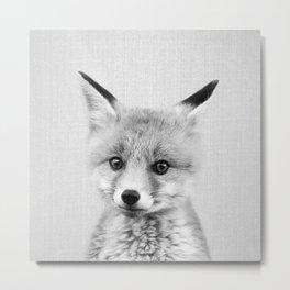 Baby Fox - Black & White Metal Print