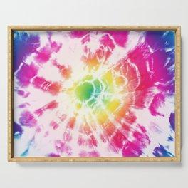 Tie-Dye Sunburst Rainbow Serving Tray