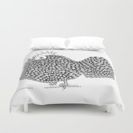 Zentangle  Funky Chicken Illustration Duvet Cover