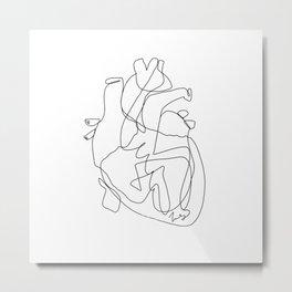 one line heart Metal Print