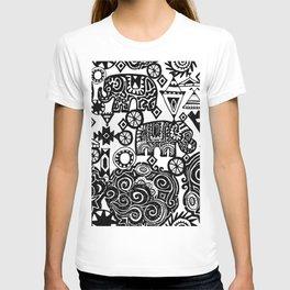 Beautiful boho pattern Indian Elephant with ornamental. Hand drawn ethnic tribal decorated Elephant T-shirt