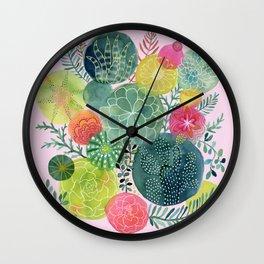 Succulent Circles on Pink Wall Clock