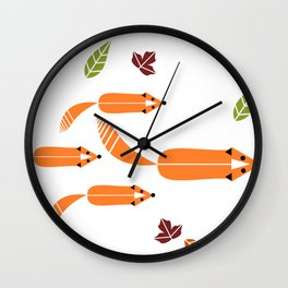 Foxes Hunting Wall Clock