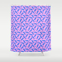 Beautiful delicate blue artistic crawling lizards. Reptile lover Gift ideas. Herpetologist. Reptiles Shower Curtain