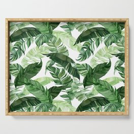 Green leaf watercolor pattern Serving Tray