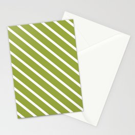 Olive Diagonal Stripes Stationery Cards