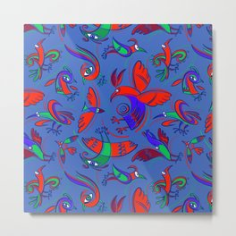Pattern with Firebirds (on blue background) Metal Print