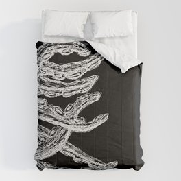 Woodcut Style Cthulu Octopus Tentacles from the Side Comforters