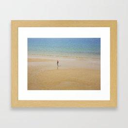 A Man on La Concha Beach in San Sebastian, Spain Framed Art Print