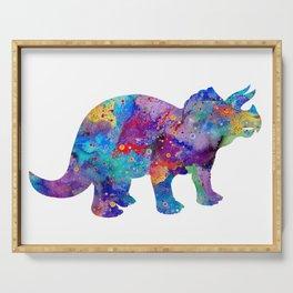 Dinosaur Triceratops Art Print Wild Animals Nursery Decor Kids Room Watercolor Pint Colorful Art Serving Tray