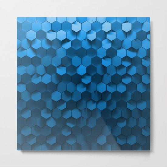 Blue hexagon abstract pattern Metal Print