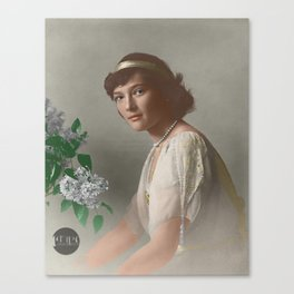 Tatiana Nikolaevna -1914 formal portrait colorized Canvas Print