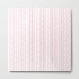 Pink white hand drawn modern simple striped pattern Metal Print