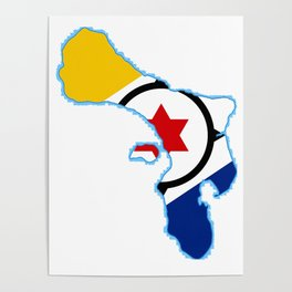 Bonaire Map with Flag Poster
