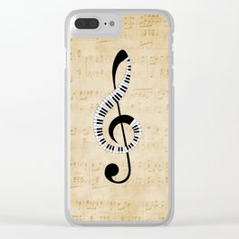 Clef Music Notes Clear iPhone Case