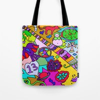 religion Tote Bags featuring Science Verses Religion by Linda Tomei