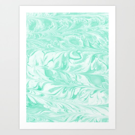 Umeko - spilled ink marble paper marbling art  painting abstract swirl water ocean landscape map Art Print