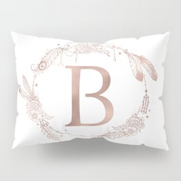 Letter B Rose Gold Pink Initial Monogram Pillow Sham