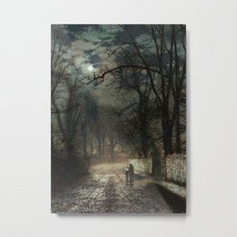 John Atkinson Grimshaw - A moonlit Lane - Victorian Retro Vintage Painting Metal Print