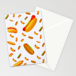 Hot Dog Pattern With Pinstripes Stationery Cards