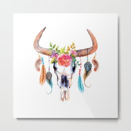 Watercolor bull skull with flowers and feathers vector Metal Print