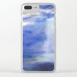 Sky light, sun light, moon light, gleams, ocean, sea, birds, original, painting, gouache, watercolor Clear iPhone Case